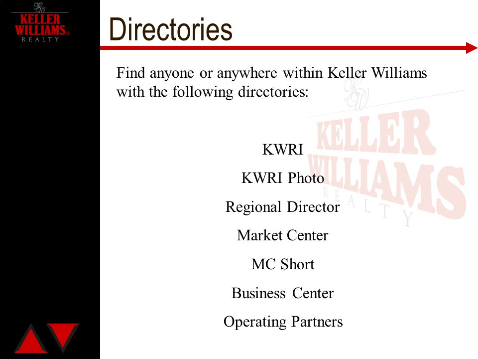 Directories Find anyone or anywhere within Keller Williams with the following directories: KWRI KWRI Photo Regional Director Market Center MC Short Bu