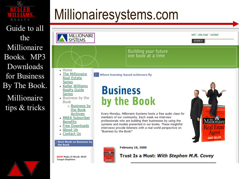 Millionairesystems.com Guide to all the Millionaire Books. MP3 Downloads for Business By The Book. Millionaire tips & tricks