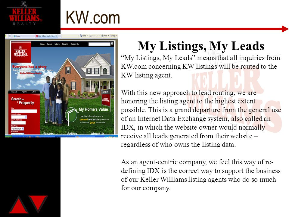 """KW.com My Listings, My Leads """"My Listings, My Leads"""" means that all inquiries from KW.com concerning KW listings will be routed to the KW listing agen"""