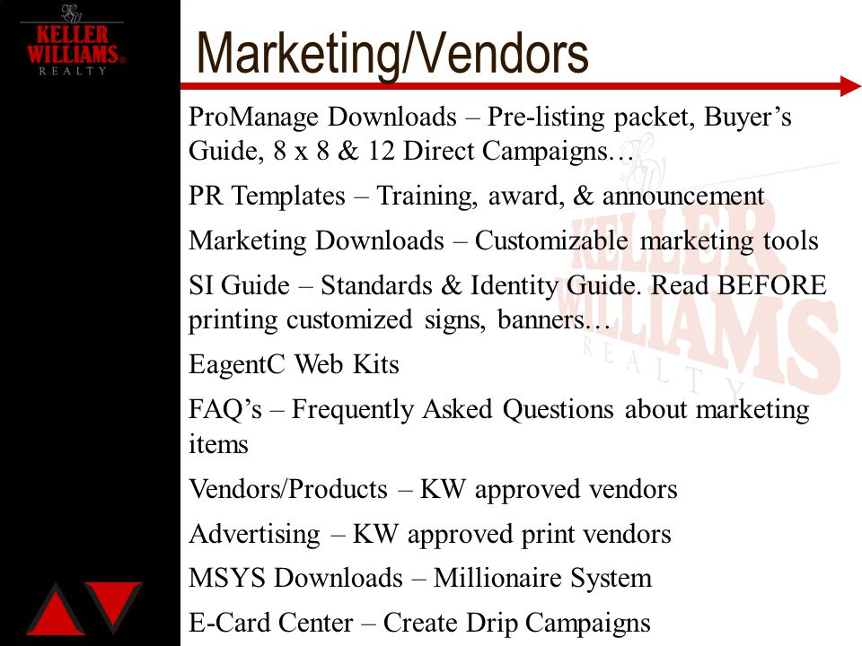 Marketing/Vendors ProManage Downloads – Pre-listing packet, Buyer's Guide, 8 x 8 & 12 Direct Campaigns… PR Templates – Training, award, & announcement