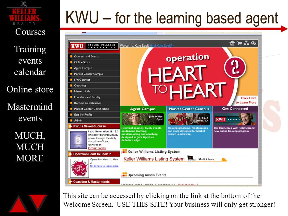 KWU – for the learning based agent This site can be accessed by clicking on the link at the bottom of the Welcome Screen. USE THIS SITE! Your business