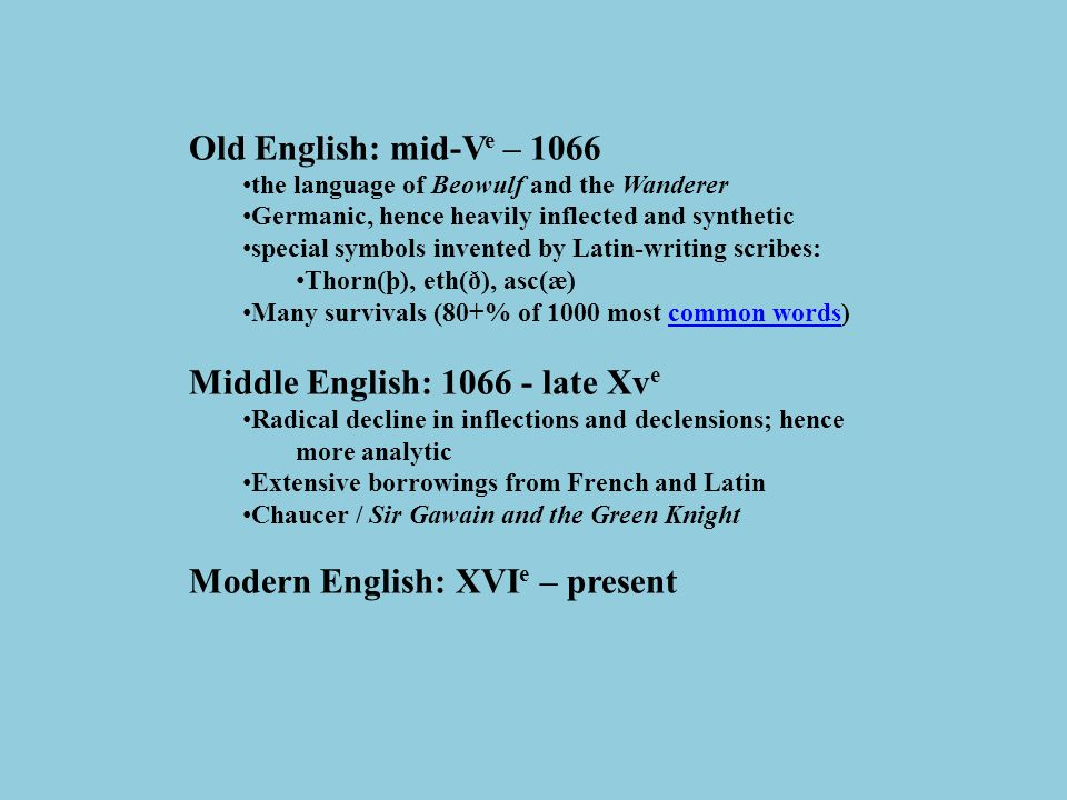 Old English: mid-V e – 1066 the language of Beowulf and the Wanderer Germanic, hence heavily inflected and synthetic special symbols invented by Latin