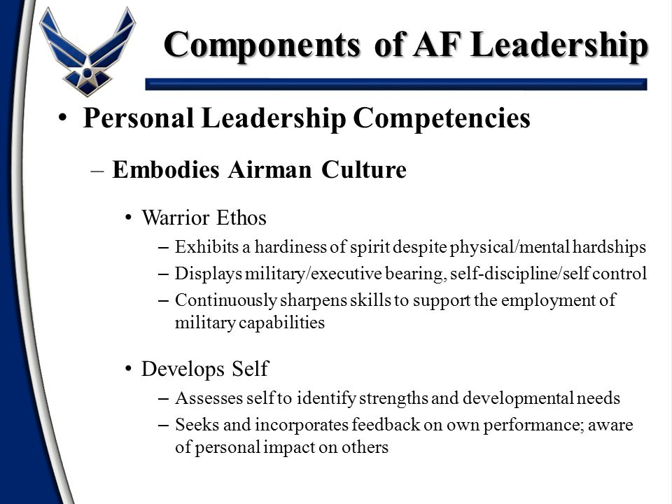 Personal Leadership Competencies –Embodies Airman Culture Warrior Ethos – Exhibits a hardiness of spirit despite physical/mental hardships – Displays