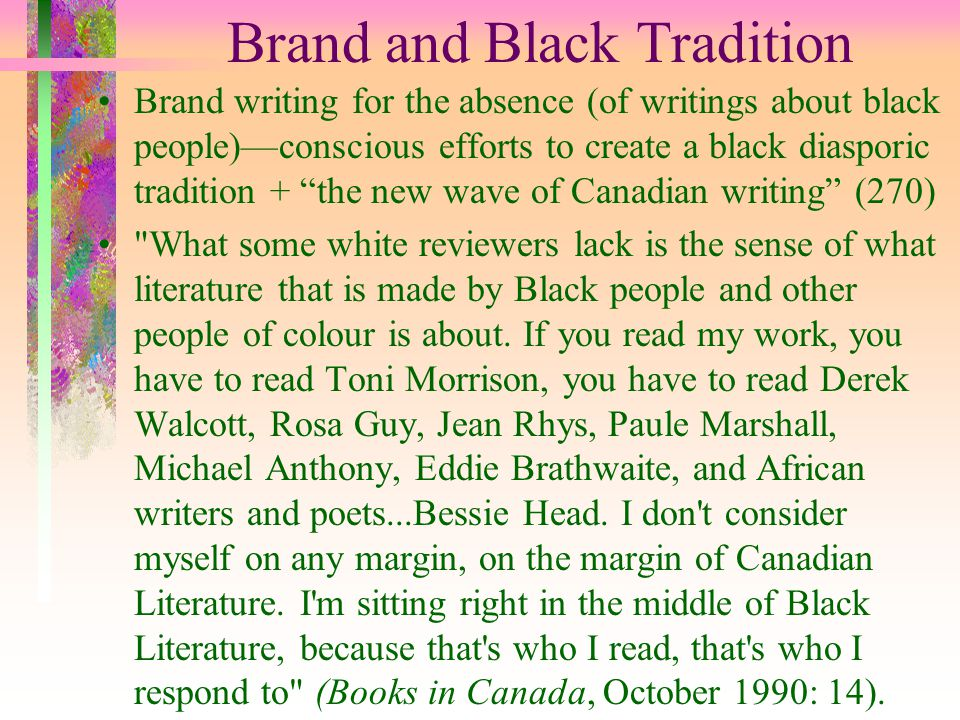 """Brand and Black Tradition Brand writing for the absence (of writings about black people)—conscious efforts to create a black diasporic tradition + """"th"""