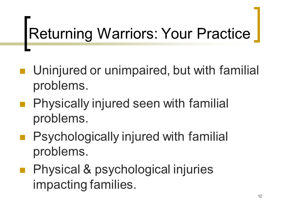 Uninjured or unimpaired, but with familial problems. Physically injured seen with familial problems. Psychologically injured with familial problems. P