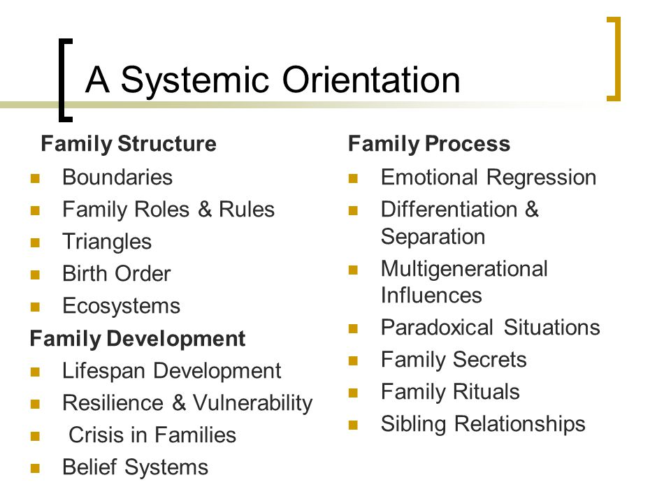 A Systemic Orientation Family Structure Boundaries Family Roles & Rules Triangles Birth Order Ecosystems Family Development Lifespan Development Resilience & Vulnerability Crisis in Families Belief Systems Family Process Emotional Regression Differentiation & Separation Multigenerational Influences Paradoxical Situations Family Secrets Family Rituals Sibling Relationships