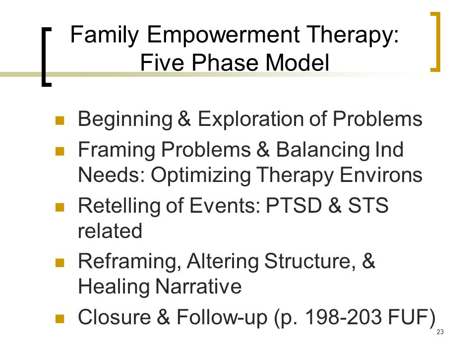 Family Empowerment Therapy: Five Phase Model Beginning & Exploration of Problems Framing Problems & Balancing Ind Needs: Optimizing Therapy Environs R