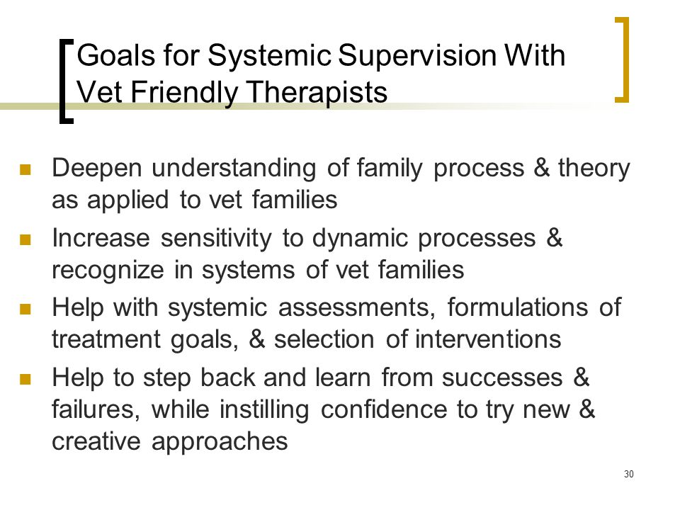 Goals for Systemic Supervision With Vet Friendly Therapists Deepen understanding of family process & theory as applied to vet families Increase sensitivity to dynamic processes & recognize in systems of vet families Help with systemic assessments, formulations of treatment goals, & selection of interventions Help to step back and learn from successes & failures, while instilling confidence to try new & creative approaches 30