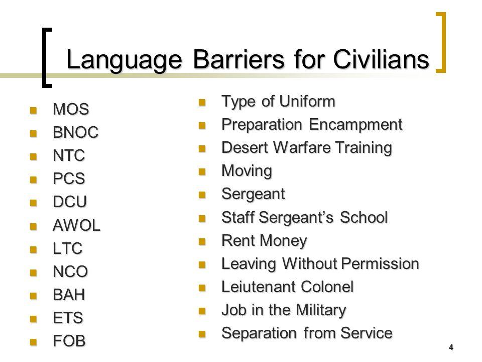 4 Language Barriers for Civilians MOS MOS BNOC BNOC NTC NTC PCS PCS DCU DCU AWOL AWOL LTC LTC NCO NCO BAH BAH ETS ETS FOB FOB Type of Uniform Type of