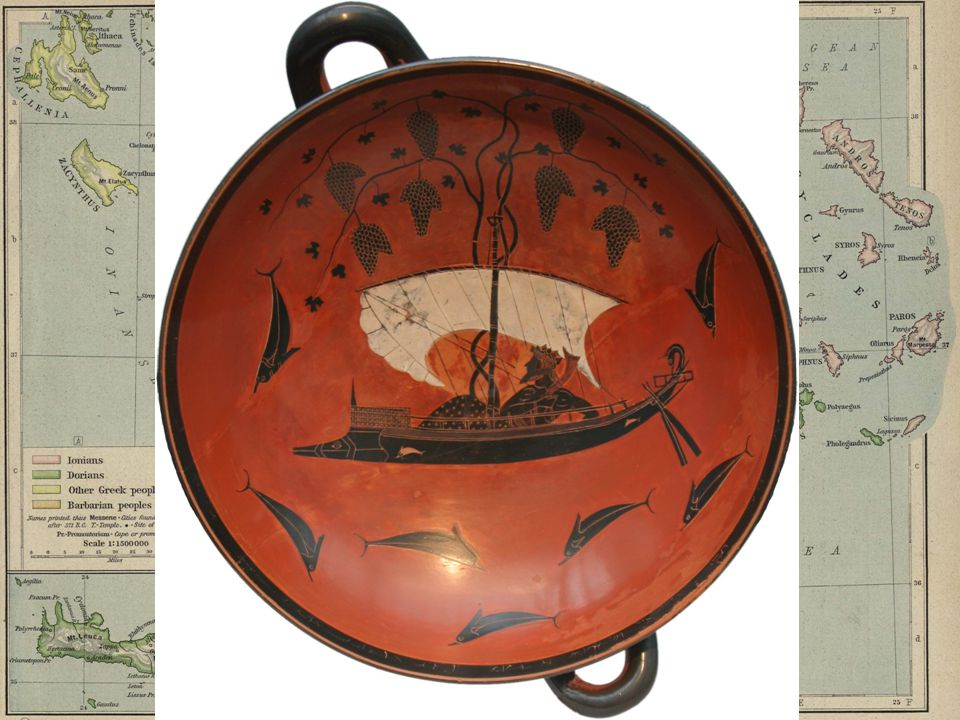 Interior decoration Shows Dionysus reclining on his symposium boat, surrounded by dolphins.
