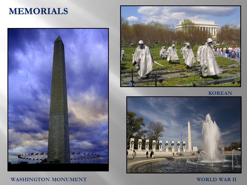MEMORIALS KOREAN WORLD WAR IIWASHINGTON MONUMENT