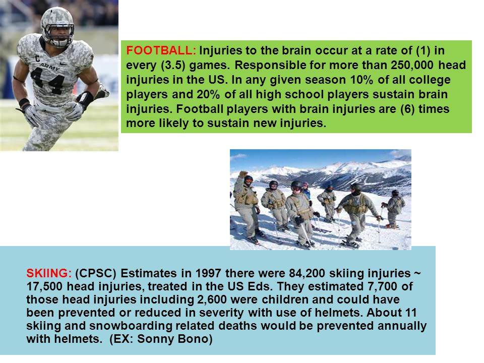 SKIING: (CPSC) Estimates in 1997 there were 84,200 skiing injuries ~ 17,500 head injuries, treated in the US Eds.