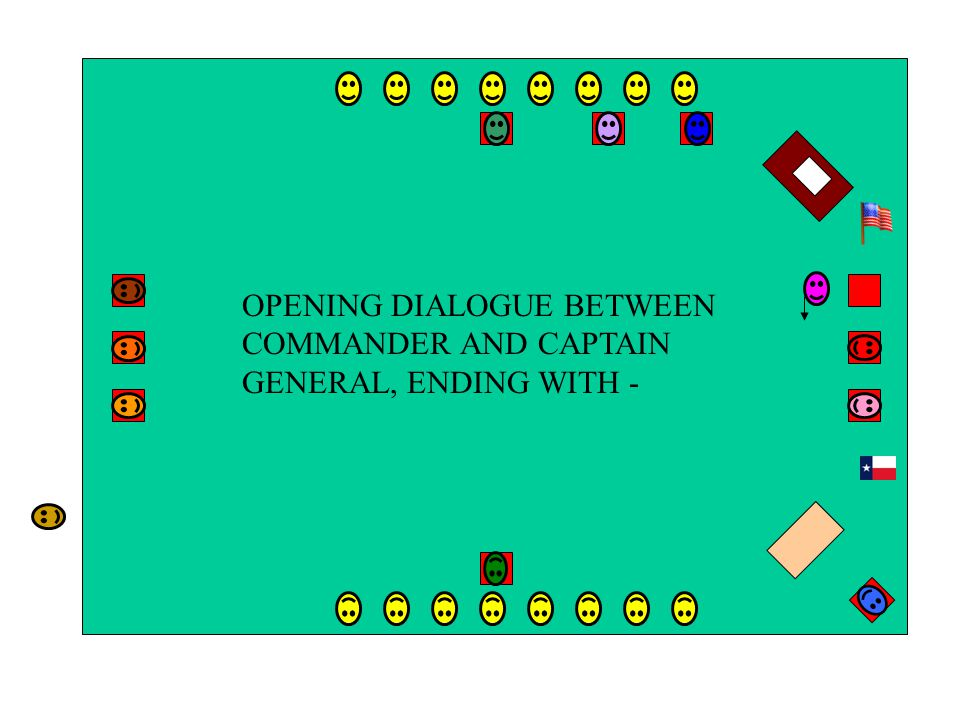 OPENING DIALOGUE BETWEEN COMMANDER AND CAPTAIN GENERAL, ENDING WITH -