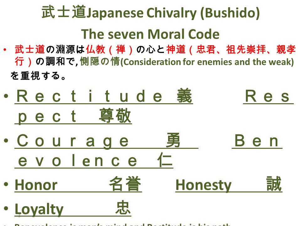 3 武士道 Japanese Chivalry (Bushido) The seven Moral Code 武士道の淵源は仏教(禅)の心と神道(忠君、祖先崇拝、親孝 行)の調和で, 惻隠の情 (Consideration for enemies and the weak) を重視する。 Rectitude 義 Res pect 尊敬 Courage 勇 Ben evol e nce 仁 Honor 名誉 Honesty 誠 Loyalty 忠 Benevolence is man's mind and Rectitude is his path.