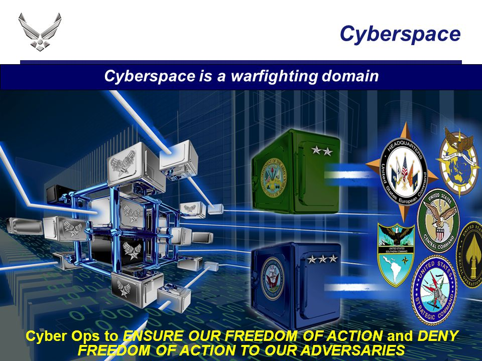 I n t e g r i t y - S e r v i c e - E x c e l l e n c e Cyberspace Cyber Ops to ENSURE OUR FREEDOM OF ACTION and DENY FREEDOM OF ACTION TO OUR ADVERSA