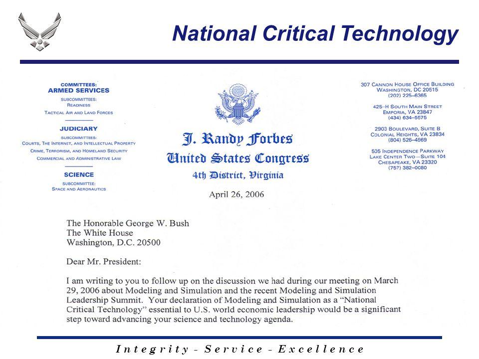 I n t e g r i t y - S e r v i c e - E x c e l l e n c e National Critical Technology