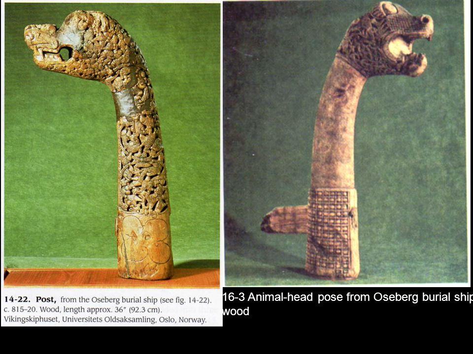 16-3 Animal-head pose from Oseberg burial ship, wood