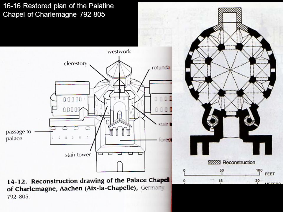 16-16 Restored plan of the Palatine Chapel of Charlemagne 792-805
