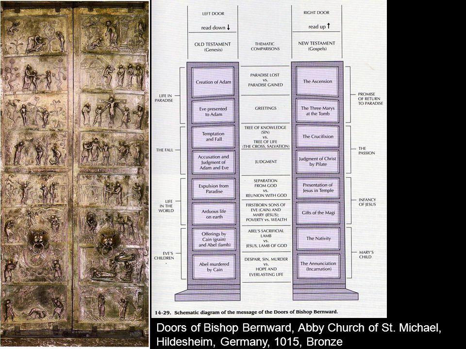 Doors of Bishop Bernward, Abby Church of St. Michael, Hildesheim, Germany, 1015, Bronze