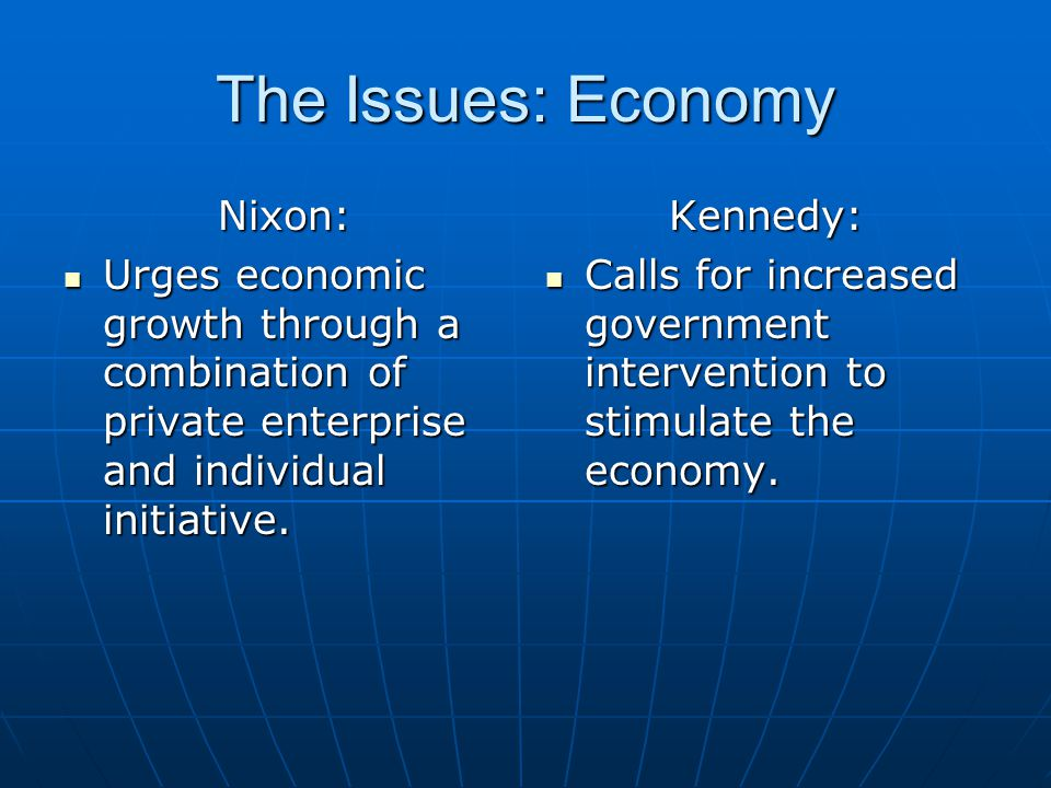 The Issues: Economy Nixon: Urges economic growth through a combination of private enterprise and individual initiative. Urges economic growth through