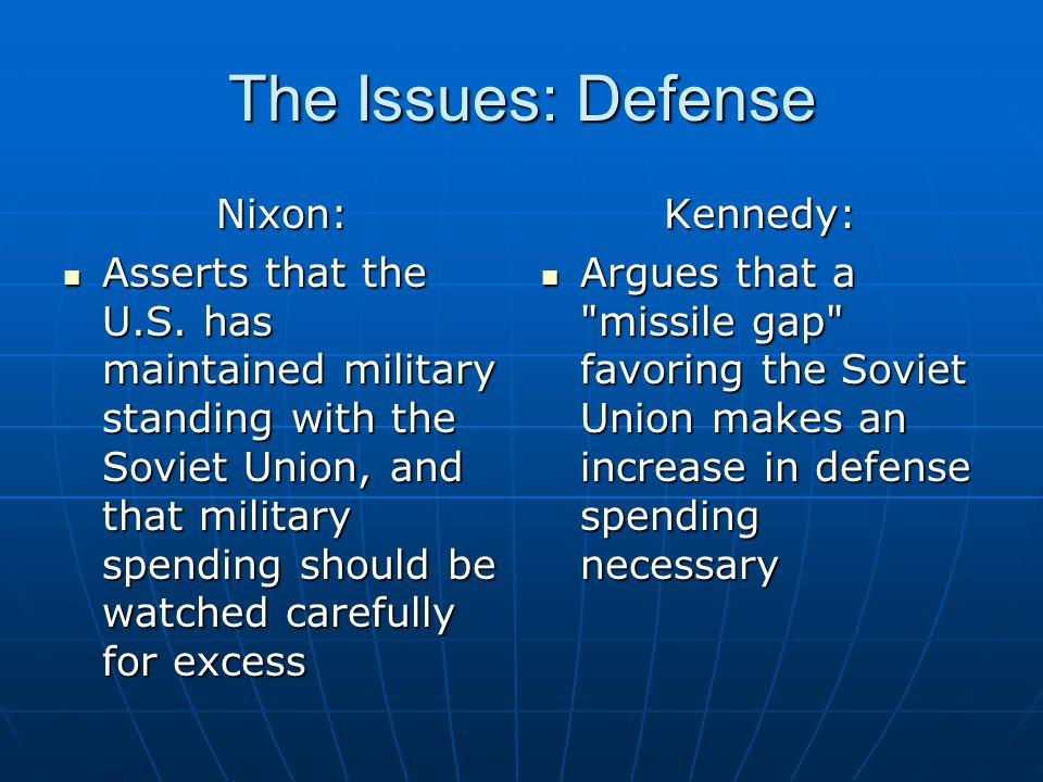 The Issues: Defense Nixon: Asserts that the U.S. has maintained military standing with the Soviet Union, and that military spending should be watched