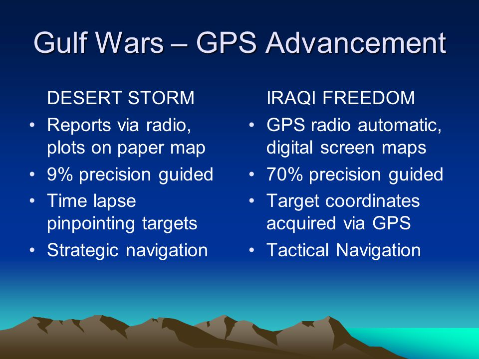 Gulf Wars – GPS Advancement DESERT STORM Reports via radio, plots on paper map 9% precision guided Time lapse pinpointing targets Strategic navigation