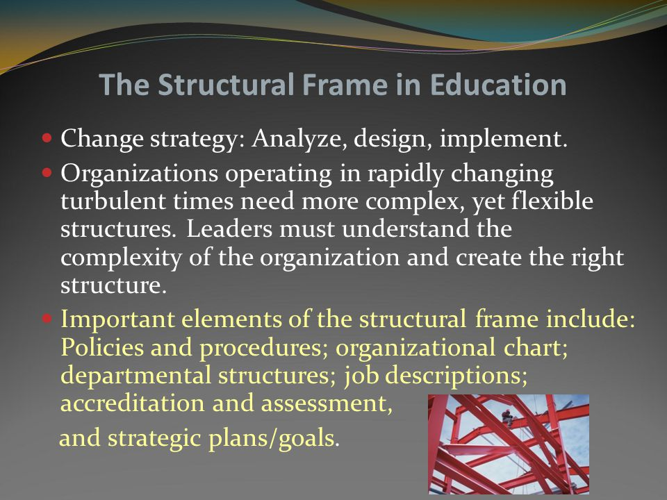 Structural Frame Leader Authoritarian, analyst, architect, military model, bureaucrats. Frequently believes that organizations require tight control.