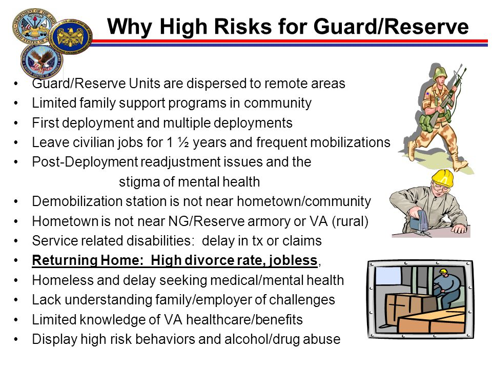 13 Why High Risks for Guard/Reserve Guard/Reserve Units are dispersed to remote areas Limited family support programs in community First deployment an