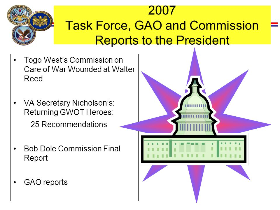 19 2007 Task Force, GAO and Commission Reports to the President Togo West's Commission on Care of War Wounded at Walter Reed VA Secretary Nicholson's:
