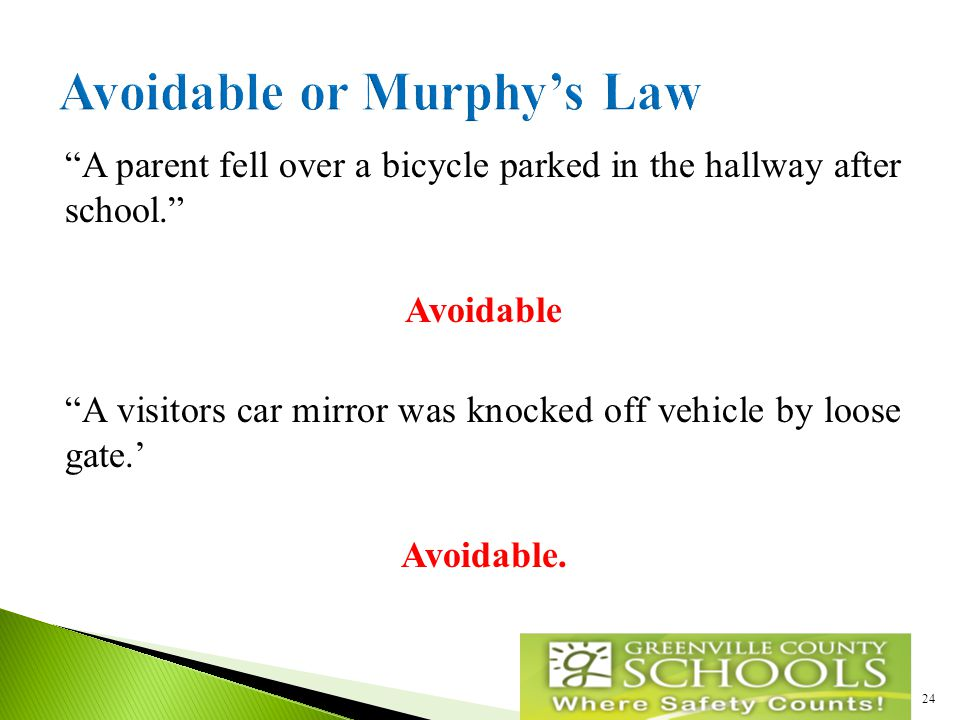 A parent fell over a bicycle parked in the hallway after school. Avoidable A visitors car mirror was knocked off vehicle by loose gate.' Avoidable.