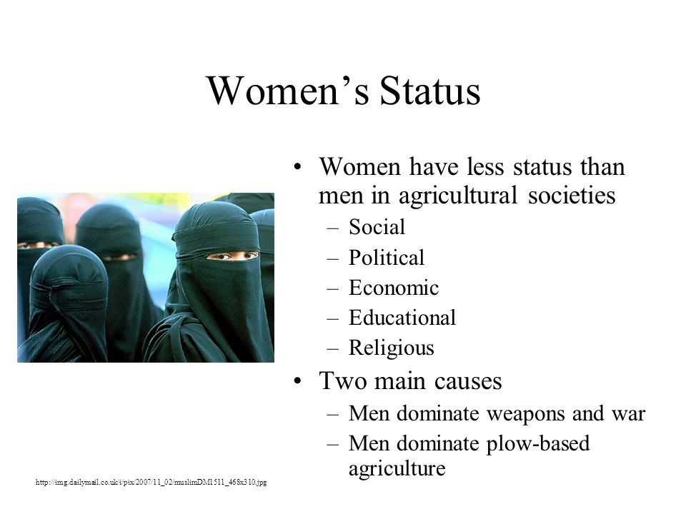 Women's Status Women have less status than men in agricultural societies –Social –Political –Economic –Educational –Religious Two main causes –Men dominate weapons and war –Men dominate plow-based agriculture http://img.dailymail.co.uk/i/pix/2007/11_02/muslimDM1511_468x310.jpg