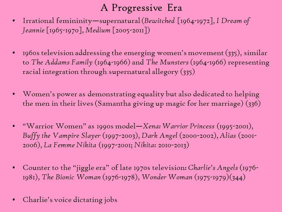 A Progressive Era Irrational femininity—supernatural ( Bewitched [1964-1972], I Dream of Jeannie [1965-1970], Medium [2005-2011]) 1960s television add