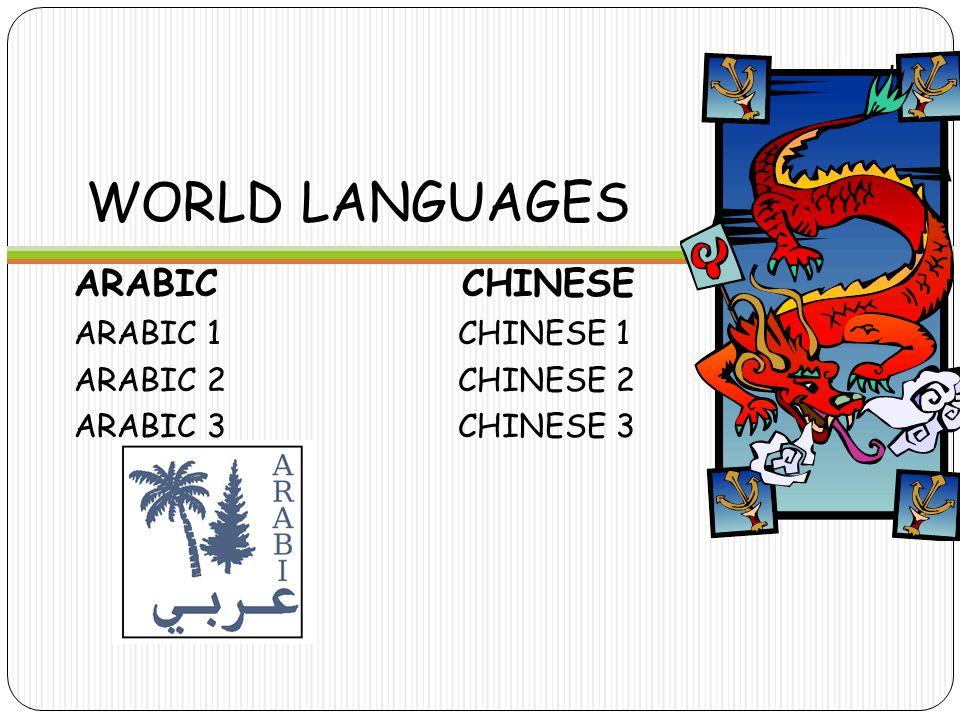 WORLD LANGUAGES ARABIC CHINESE ARABIC 1CHINESE 1 ARABIC 2CHINESE 2 ARABIC 3CHINESE 3
