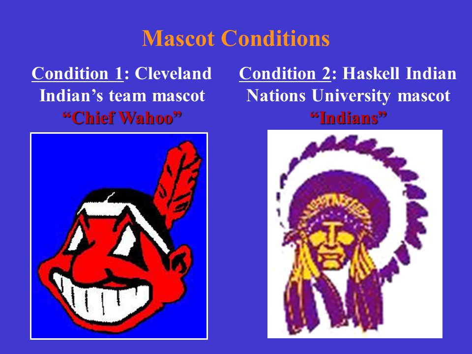 """Mascot Conditions """"Indians"""" Condition 2: Haskell Indian Nations University mascot """"Indians"""" """"Chief Wahoo"""" Condition 1: Cleveland Indian's team mascot"""