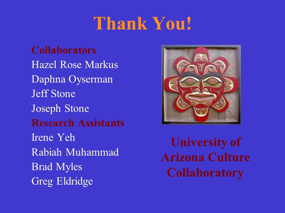 Thank You! Collaborators Hazel Rose Markus Daphna Oyserman Jeff Stone Joseph Stone Research Assistants Irene Yeh Rabiah Muhammad Brad Myles Greg Eldri