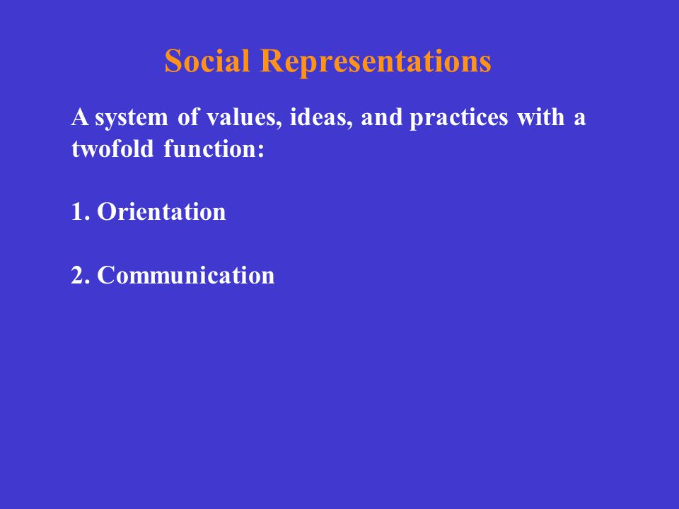 Social Representations A system of values, ideas, and practices with a twofold function: 1. Orientation 2. Communication