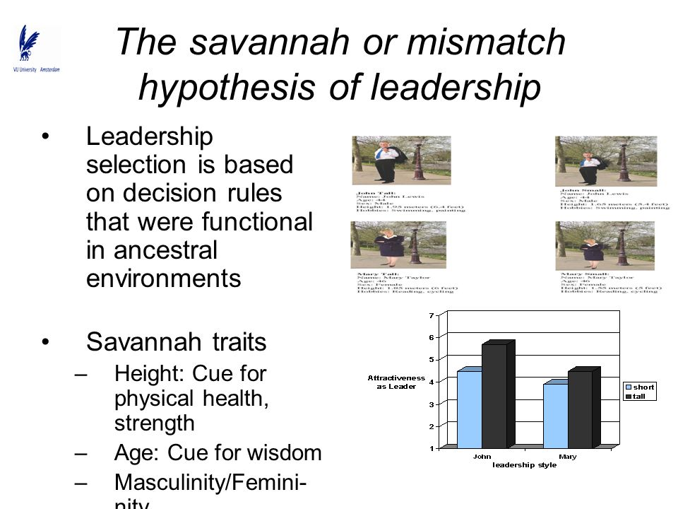 The savannah or mismatch hypothesis of leadership Leadership selection is based on decision rules that were functional in ancestral environments Savan
