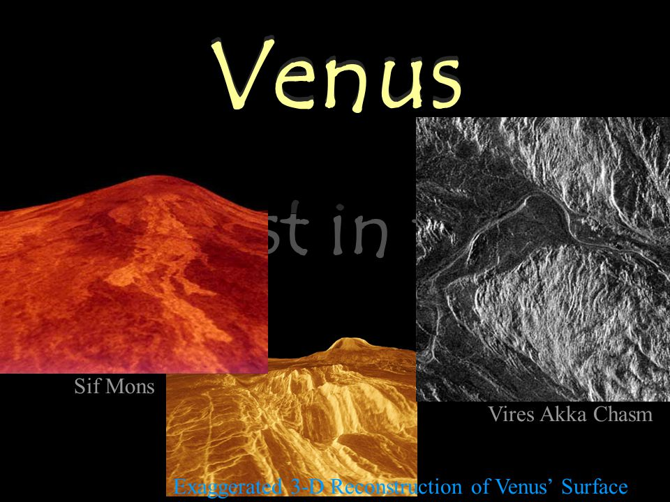 Venus Brightest in the Sky Venus Exaggerated 3-D Reconstruction of Venus' Surface Sif Mons Vires Akka Chasm