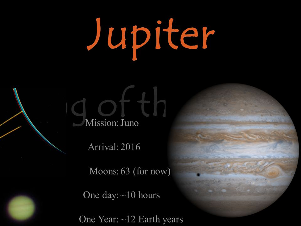 Jupiter King of the Night Jupiter Mission: Arrival: Moons: One day: One Year: Juno 2016 63 (for now) ~10 hours ~12 Earth years