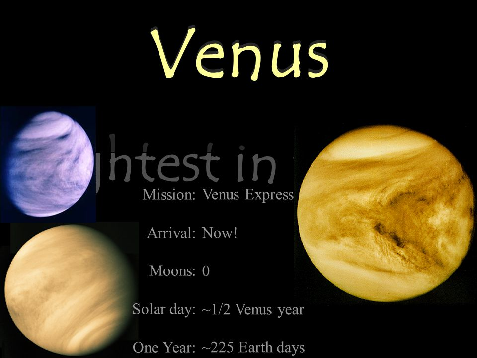 Venus Brightest in the Sky Venus Mission: Arrival: Moons: Solar day: One Year: Venus Express Now.
