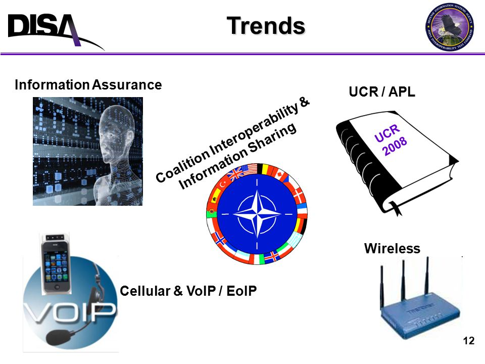 12Trends Information Assurance Cellular & VoIP / EoIP Wireless UCR / APL UCR 2008 Coalition Interoperability & Information Sharing