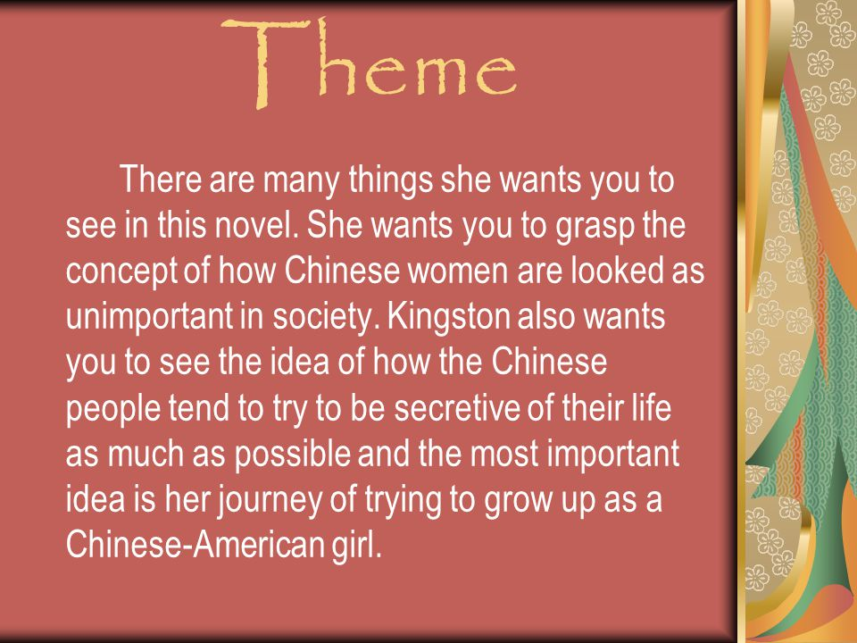 Theme There are many things she wants you to see in this novel.