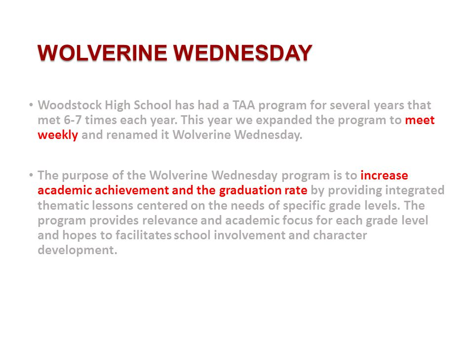 PROGRAM STRUCTURE Advisement groups will meet weekly on Wednesdays after first period for 30 minute sessions.