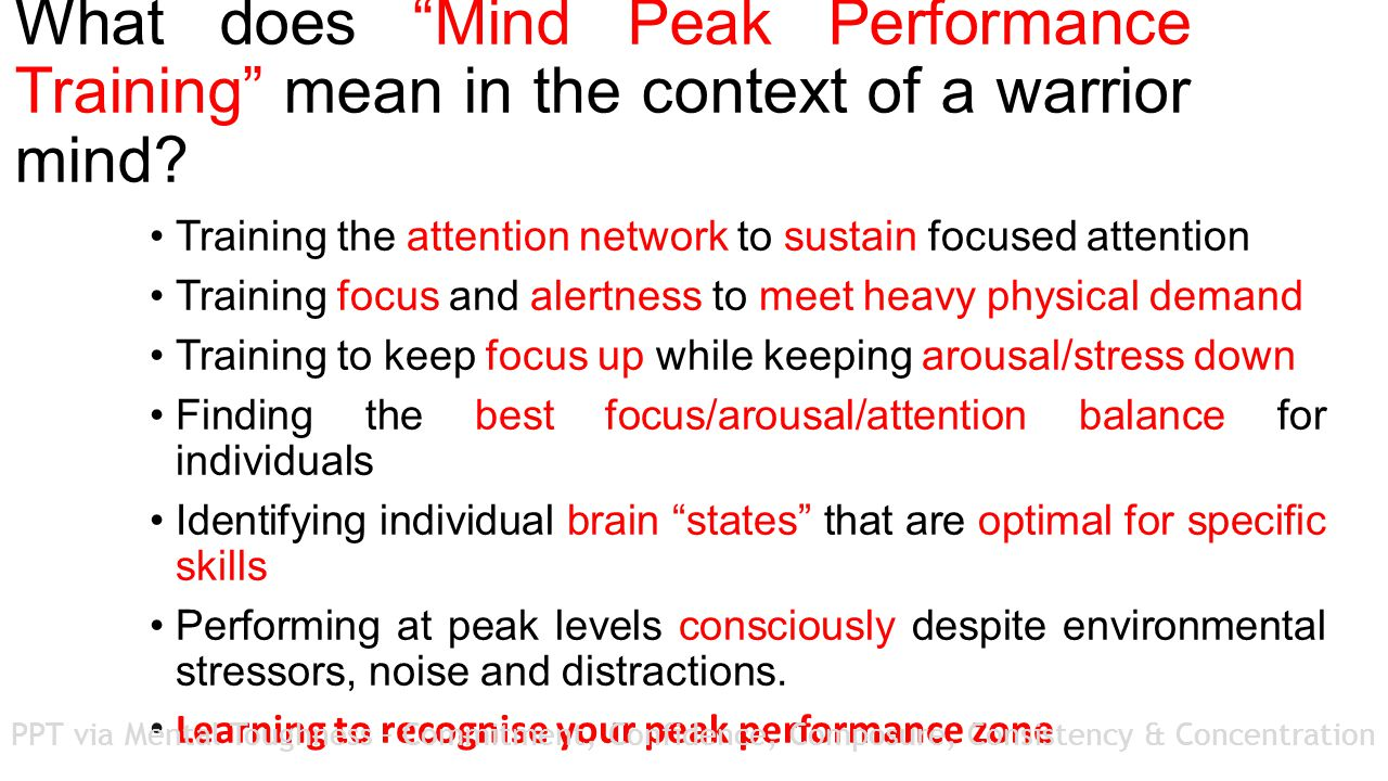 What does Mind Peak Performance Training mean in the context of a warrior mind.