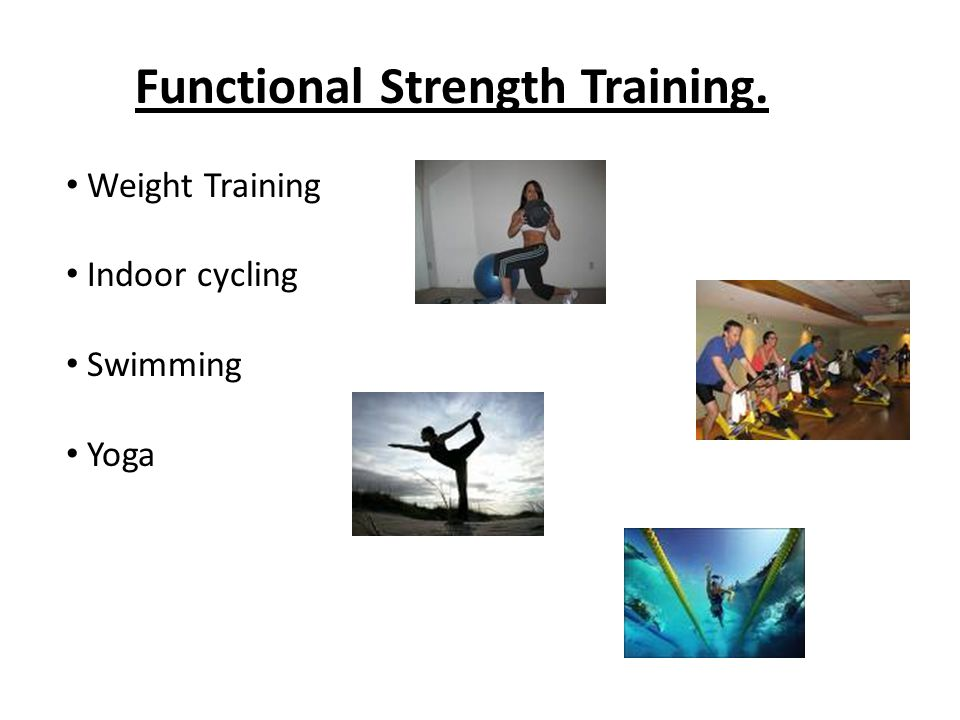 Functional Strength Training. Weight Training Indoor cycling Swimming Yoga