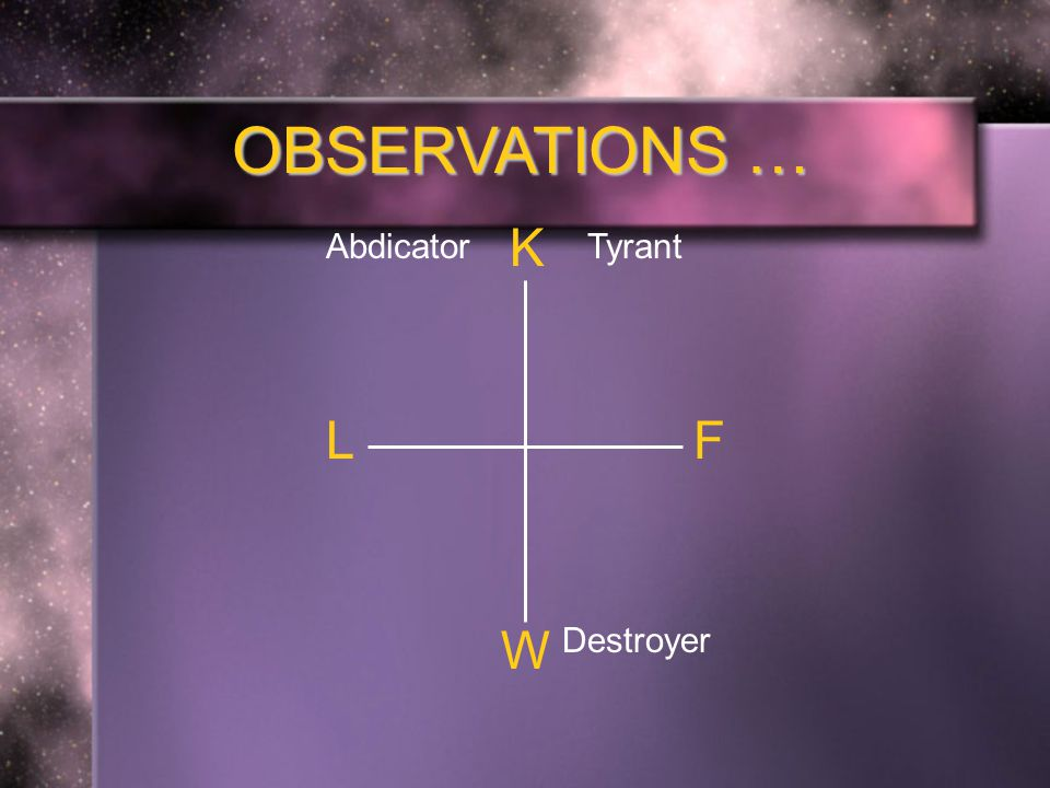 OBSERVATIONS … K F W L TyrantAbdicator Destroyer