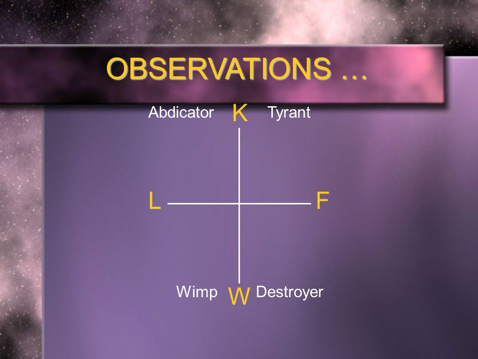 OBSERVATIONS … K F W L TyrantAbdicator DestroyerWimp