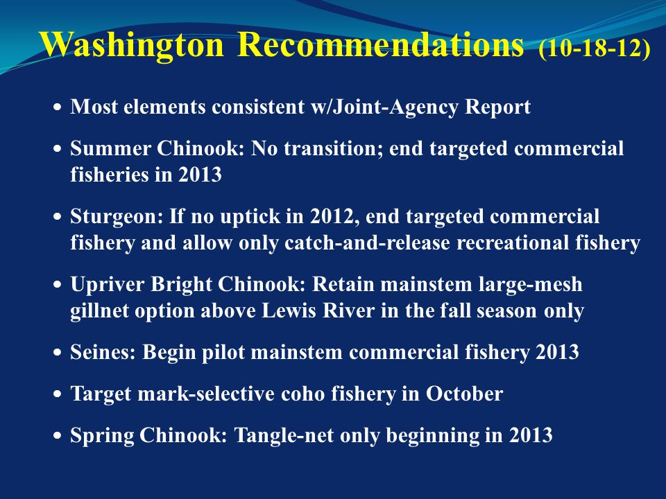 Incorporate WA recommendations into Joint- Agency Report and reconcile differences Analyze scenario to achieve 0-5% overall impact to commercial fisheries during transition (5-10% now) Clarify adaptive management strategy and identify elements of a commercial buy-back program Identify some elements of commercial advisor recommendations to incorporate into Joint-Agency Report Ask HSRG for review of conservation benefits and risks WG Directions From Last Meeting