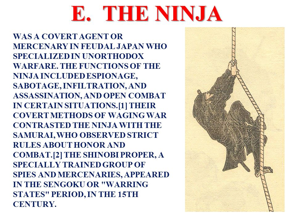 THIS IS WHO YOU CALL WHEN AN ARMY OF SAMURAI WON'T DO!!!!!!!!!!! E. THE NINJA