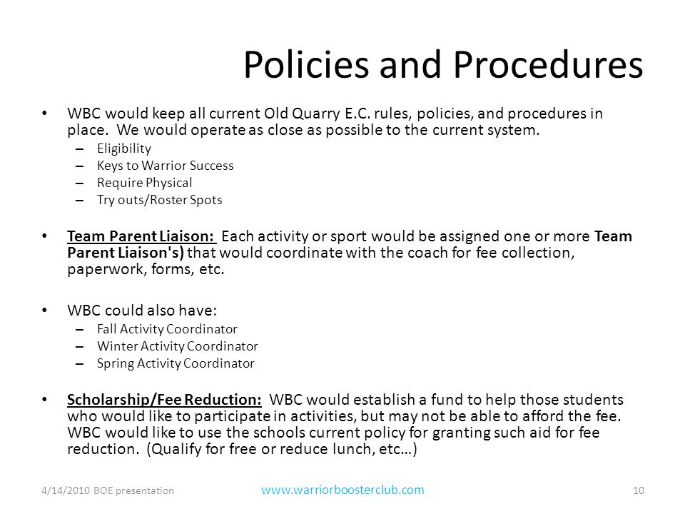 Policies and Procedures WBC would keep all current Old Quarry E.C.